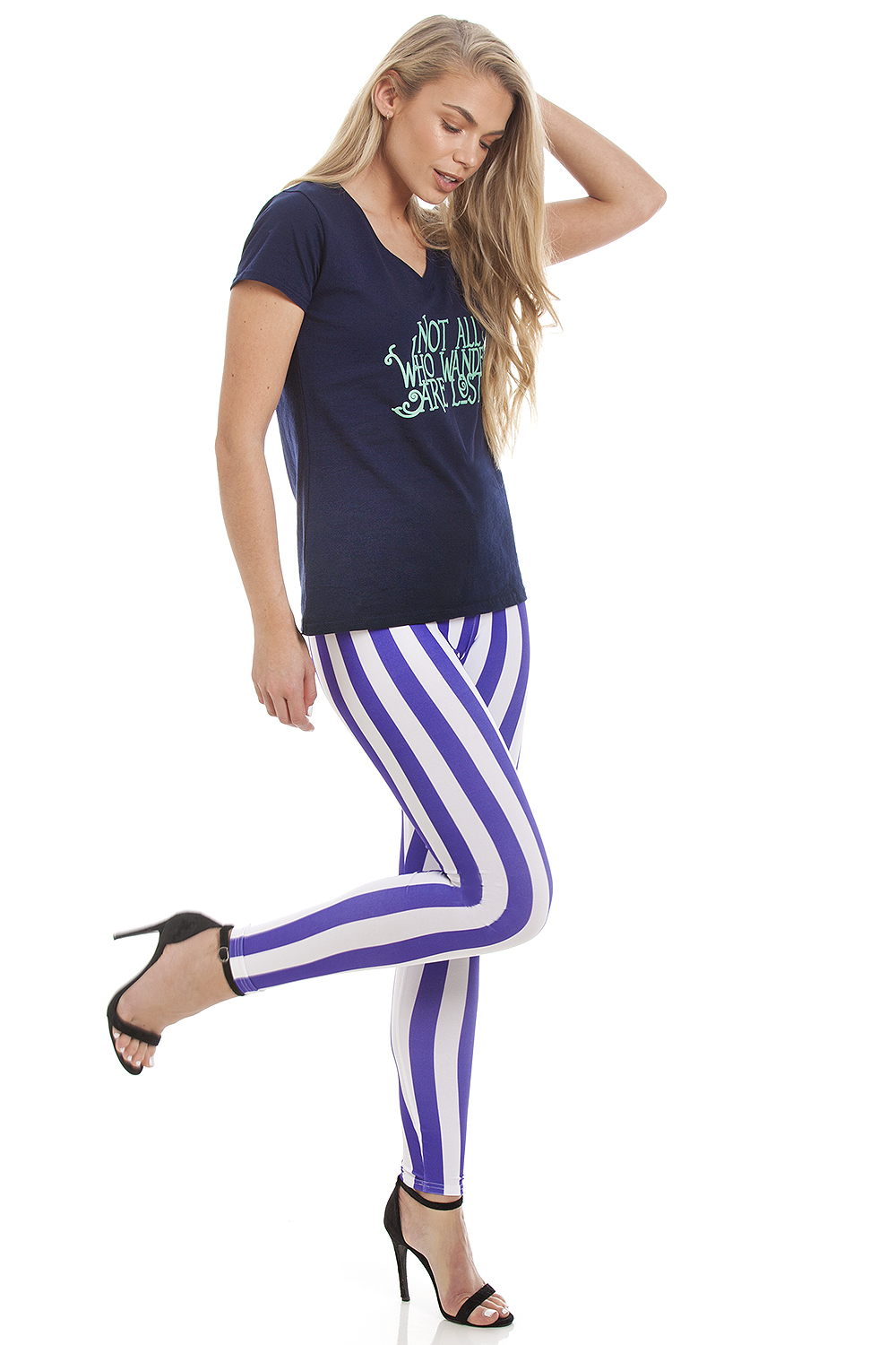 Striped Leggings Purple White (2)