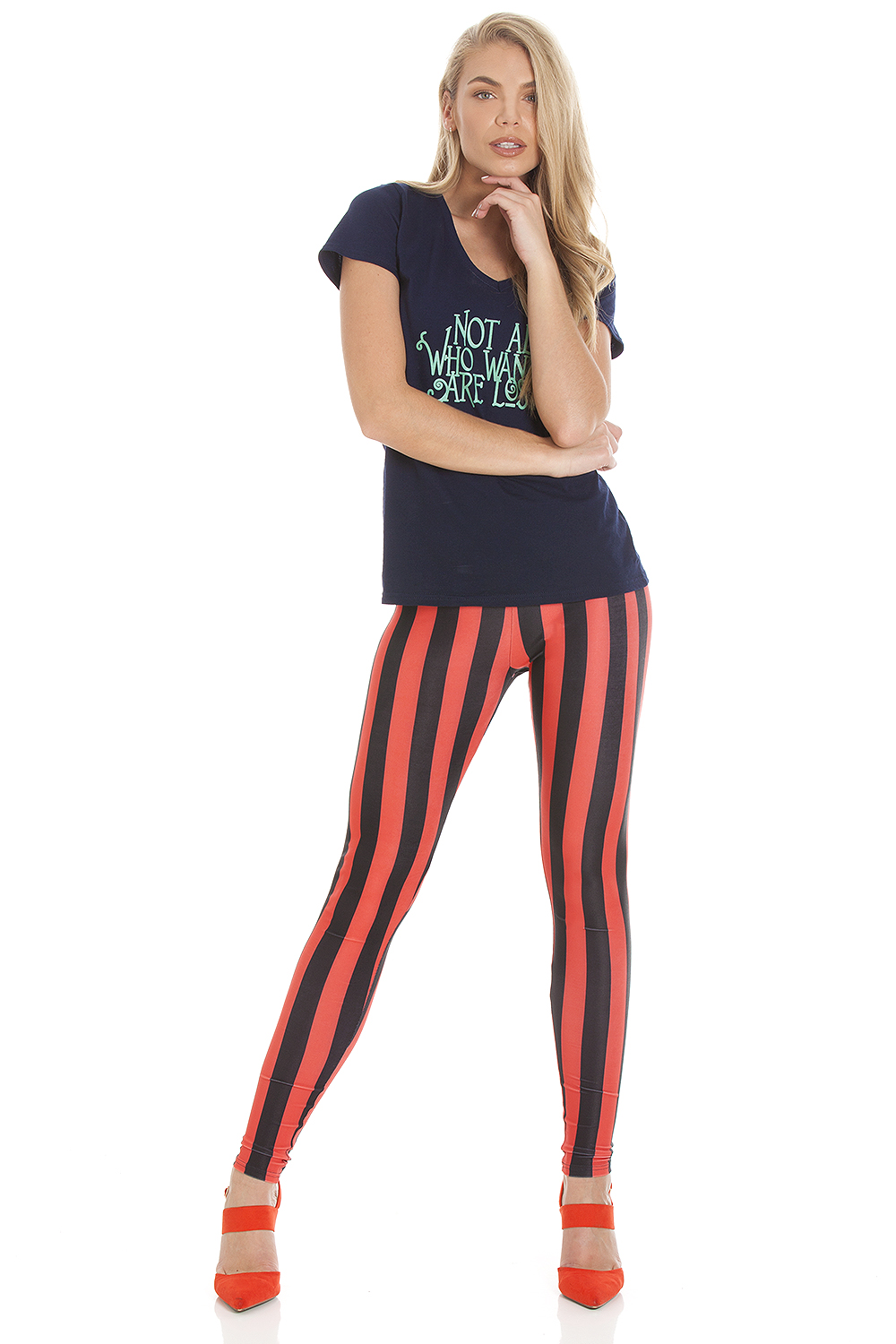 Commercial photography on amazon white background photoshoot photography of womens striped leggings red for ecommerce shop